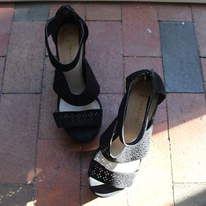 wide fit black platform heels with cut out detail