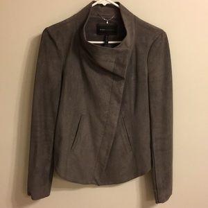 BCBG grey suede fabric jacket