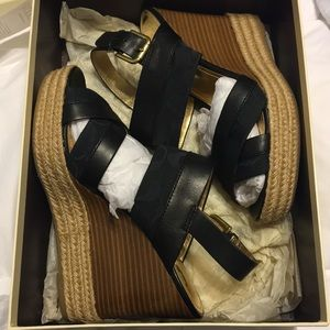Coach open toe wedges with leather straps