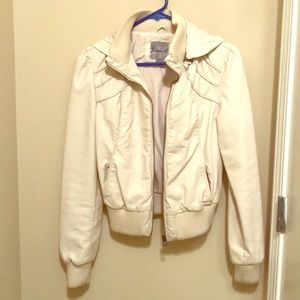 Cream Bomber/Motto Leather Jacket w/removable hood