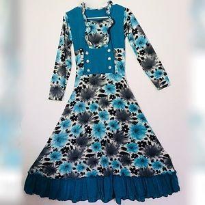 Beautiful floral midi casual dress