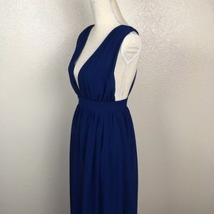 Navy Blue Plunge Neck Maxi Dress Empire Waist
