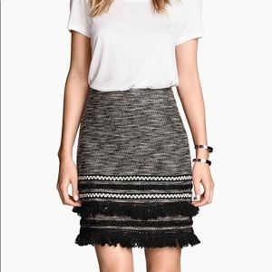H&M Tweed Skirt with Tassels