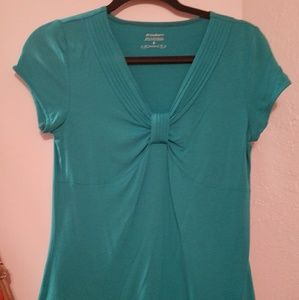 Teal short sleeve blouse