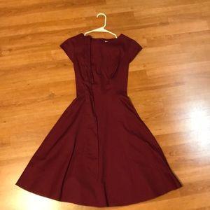 Wine red vintage swing dress.