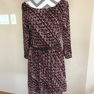 Burgundy and Taupe Casual Dress
