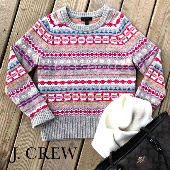 77% off J. Crew Sweaters - J. Crew Holly Wool Sweater Fair Isle ...