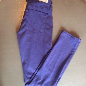 AG Prima Mid Rise Cigarette Purple Skinny Jeans