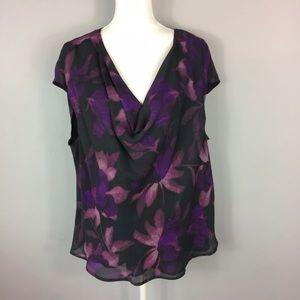 Charter Club Purple Floral Cowl Neck 20W