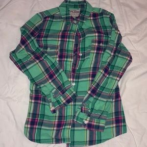 Old navy green and pink flannel