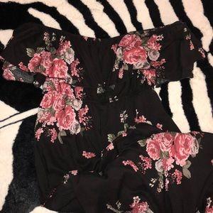 Off Shoulder Floral Midi Dress
