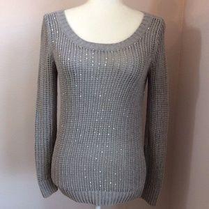 BANANA REPUBLIC Matte Silver Sequin Knit Sweater