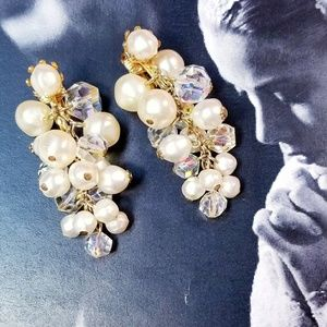 Vintage Aurora Borealis and faux pearl earrings