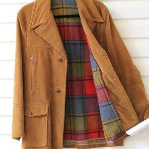 Vintage Corduroy and Plaid Coat