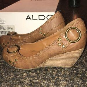 ALDO wedge heel buckle shoe