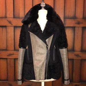 Vince Camuto Black & Tan Faux Suede & Fur Jacket