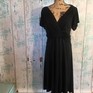 Banana Republic black silk midi dress size large