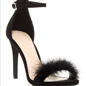 Wild Diva Black Fur Heels