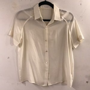 Everlane cream silk blouse