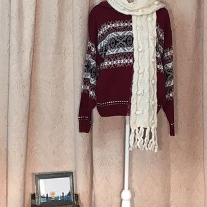 Christmas sweater burgundy zip up sweater