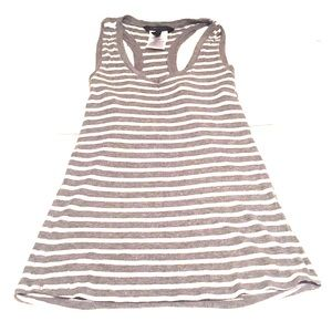 Grey and White ribbed Tank top