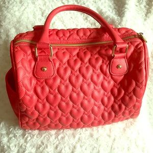 Betsey Johnson Red Quilted Hearts Satchel