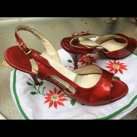 Vintage Kimel CA Shoes - ♥️Vintage Strappy RED Patent Heels Kimmel 6B