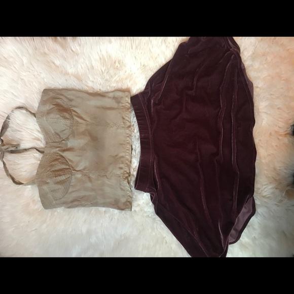 Trouve Dresses & Skirts - TROUVÉ corset top/ purple velvet skirt BUNDLE