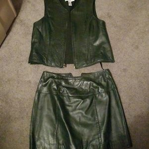 Leather vest and matching skirt