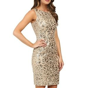 Calvin Klein gold lace sequin dress