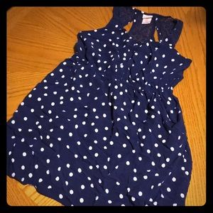 Missimo Blue with white polka dot dress