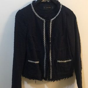 Zara navy color tweet jacket