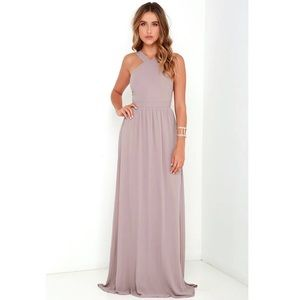 Lulu's BNWT Taupe Air of Romance Maxi Dress