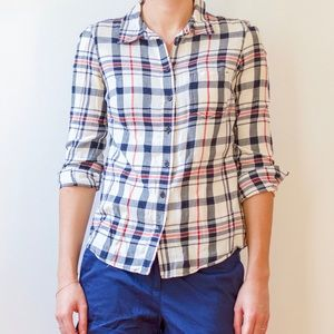 Gap Fitted Boyfriend Plaid Shirt