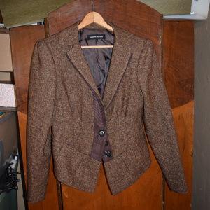 Nanette Lepore Brown Tweed Blazer Peplum Jacket
