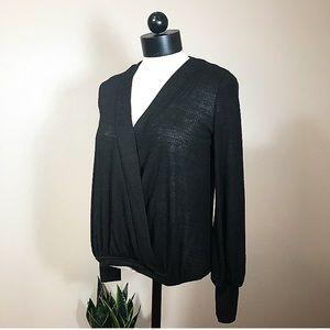 Zara Ribbed Crossover Long Sleeve Top