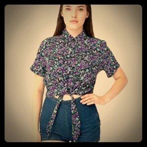 American apparel tie front floral top