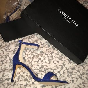 NWT Electric Blue Suede Kenneth Cole Strappy Heels