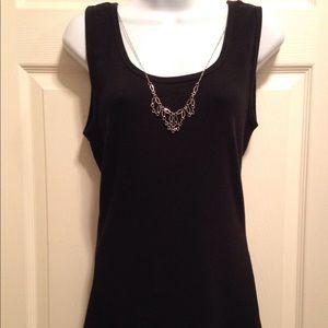 Apt. 9 Ribbed Black Tank Top w/detachable necklace