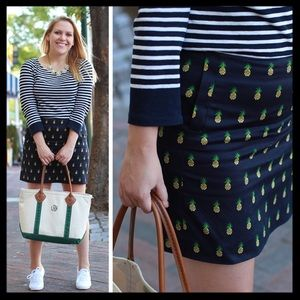 j. crew // pineapple print sateen navy mini skirt