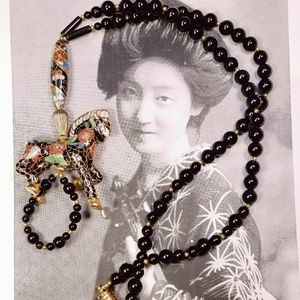 Vintage cloisonne horse and black onyx necklace