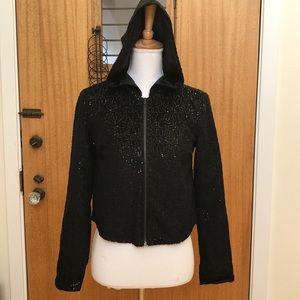 Cutest black sequin hoodie, front zipper, new!