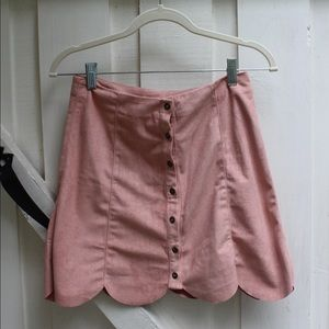 pink faux suede high waisted mini skirt