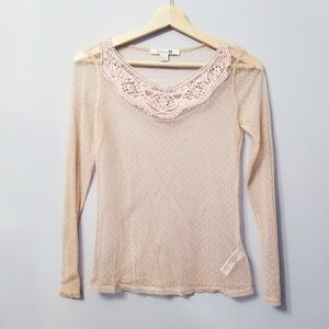 Forever 21 Ultra Sheers Lace Neck Shirt XS