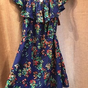Merona blue floral print tie dress