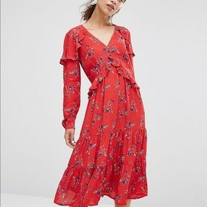 NWT ASOS VNeck Ruffle Midi Dress In Vintage Floral