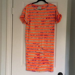 Nicole Miller tie-dye and neon striped tunic/dress