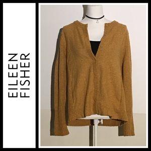 Eileen Fisher Mustard Color Wool / Silk Cardigan