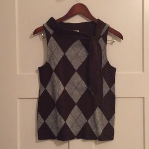 Brown and gray argyle sweater vest