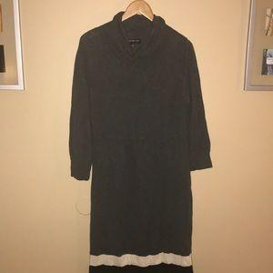 Jones New York gray black white long sweater dress